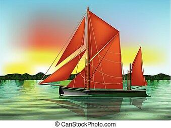 barge thames on thr river against a sky