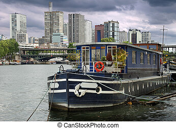 Barge. - The barge reconstructed for habitation on river...