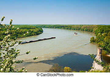 Barge with cargo on the Donau river