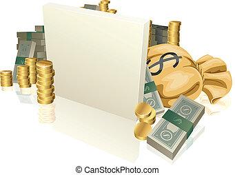 bargeld, und, gold prägt, zeichen