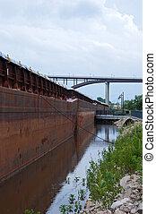 Barges and Bridge in Saint Paul
