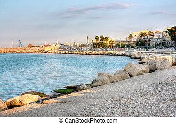 bari, イタリア, hdr, 堤防