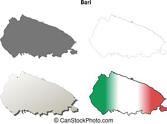 Bari blank detailed outline map set - Bari blank province...