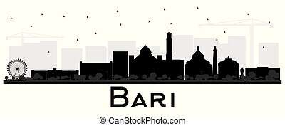 Bari Italy City Skyline Silhouette with Black Buildings...