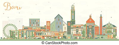 Bari Italy City Skyline with Color Buildings. Vector...
