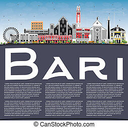 Bari Italy City Skyline with Gray Buildings, Blue Sky and...