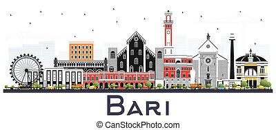 Bari Italy City Skyline with Gray Buildings Isolated on...