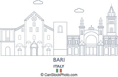 bari, város égvonal, olaszország
