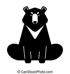 Baribal American Bear isolated. Wild predator of USA. Vector...