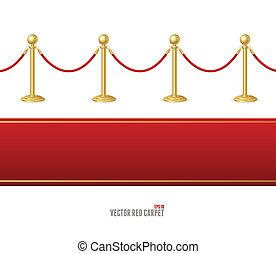 bariera, związać, wektor, wypadek, czerwony dywan