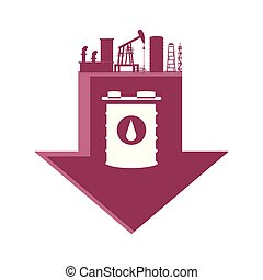 baril, essence, usine, flèche