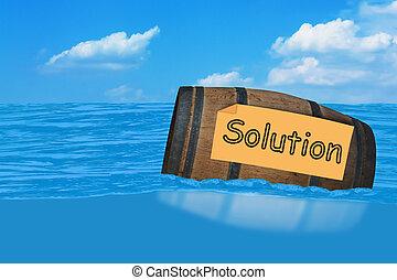 baril, flotter, concept, solution, mer