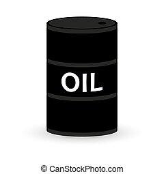 baril, huile, fond blanc, icône