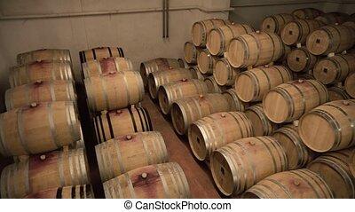 baril, rangées, chêne, cave, vin