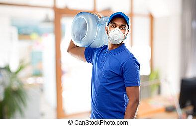 baril, respirateur, eau, livreur