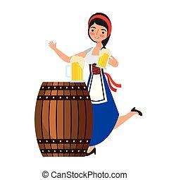 barile, bavarese, donna, birra, presa a terra