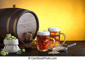 barile birra, due, occhiali