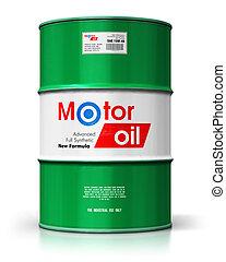 barile, con, olio automobilistico, lubrificante, isolato, bianco, fondo