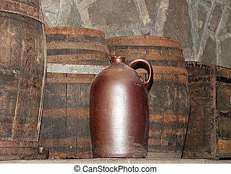 barile, di, vino, in, uno, rustico, regolazione