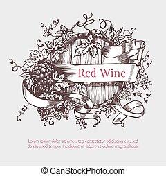 barile, ghirlanda, uve vino, banner.