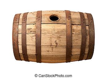 barile, legno, isolato, vecchio