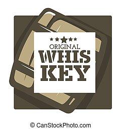 barile, marca, legno, whisky, casa, isolato, icona