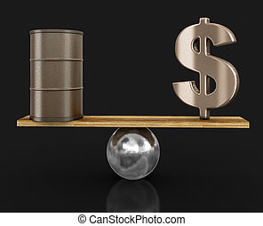 barile olio, e, segno dollaro, bilanciato, su, plank., immagine, con, percorso tagliente