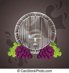 barile, uva, manifesto, vino, casa