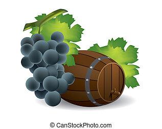 barile, vino uva