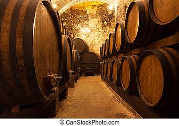barili, cantina, magazzino, vino