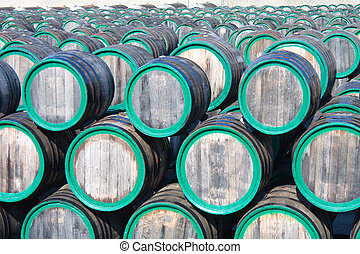 barili, cima, magazzino, madera, fuori, vino, vista