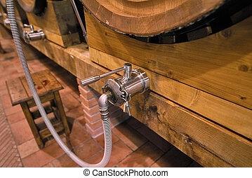 barili, legno, grande, cantina, seminterrato