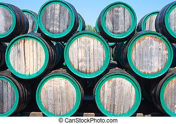 barili, magazzino, vino, madera, fuori