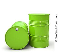 barili, metallo, isolato, illustrazione, sfondo verde,...