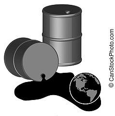 barili, nero, gallone, cinquanta, rovesciato, olio
