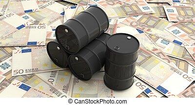 barili, olio, euros, illustrazione, cinquanta, banconote., 3d