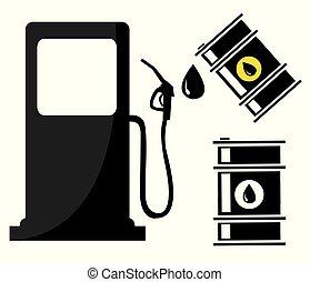 barili, stazione, olio, gas, segno