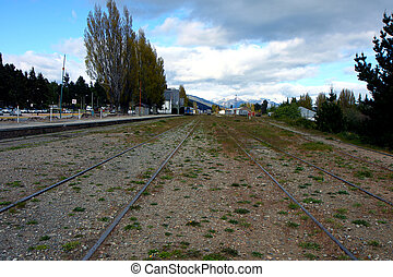 View at the bus station of Bariloche in Argentina to the train rails