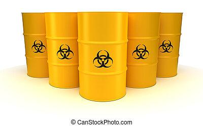 barils, biohazard, gaspillage, jaune