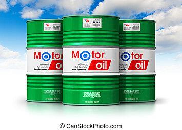 barils, bleu, huile, groupe, ciel, contre, moteur, lubrifiant