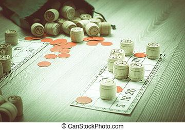 barils, bois, loto, jeu, sac, cartes, chips, rouges