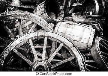 barils, bois, roues, vieux, cassé