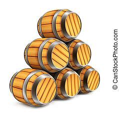 barils, bois, stockage, isolé, bière, vin