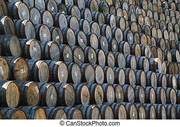 barils, empilé, whisky