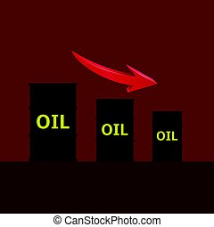 barils, huile, flèche