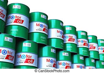 barils, huile, groupe, empilé, isolé, moteur, lubrifiant, blanc