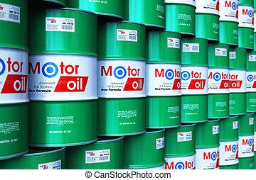 barils, huile, groupe, empilé, moteur, entrepôt, lubrifiant