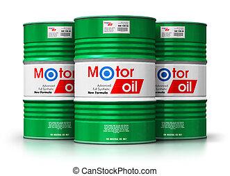 barils, huile, groupe, fond, isolé, moteur, lubrifiant, blanc