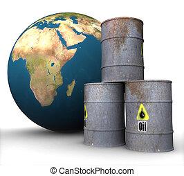 barils, huile, isolement, métal, terre, fond, 3d