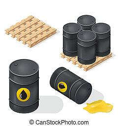 barils, isométrique, huile